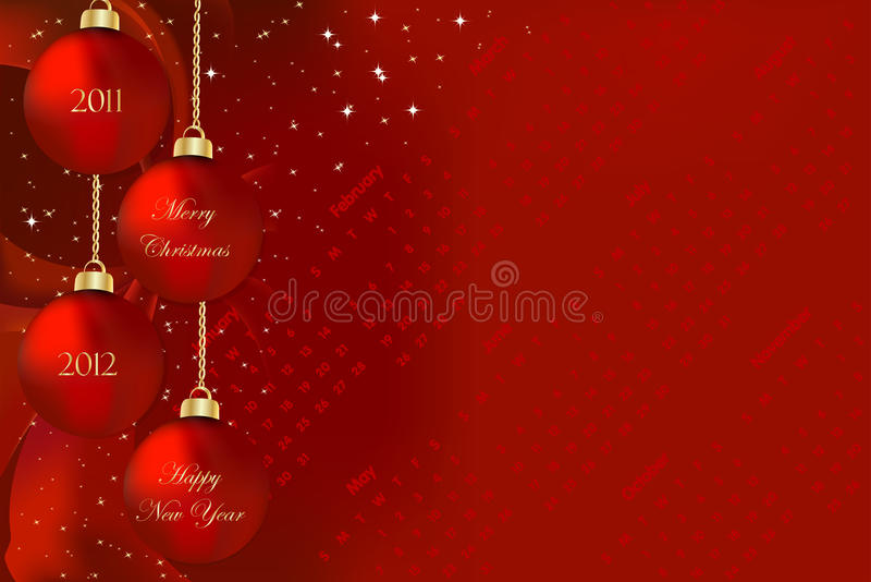 Merry Christmas and Happy New Year 2011 2012 royalty free illustration