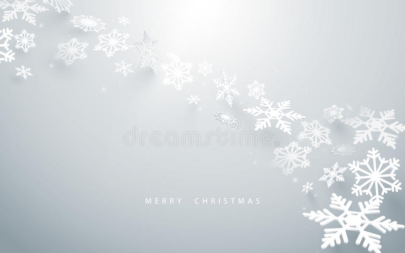 Merry Christmas and Happy new year. Abstract snowflakes in white background stock illustration