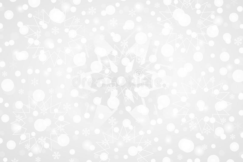 Merry Christmas & Happy New Year abstract vector illustration.Decorative grey white gradient background with snowflakes, sparkles stock illustration