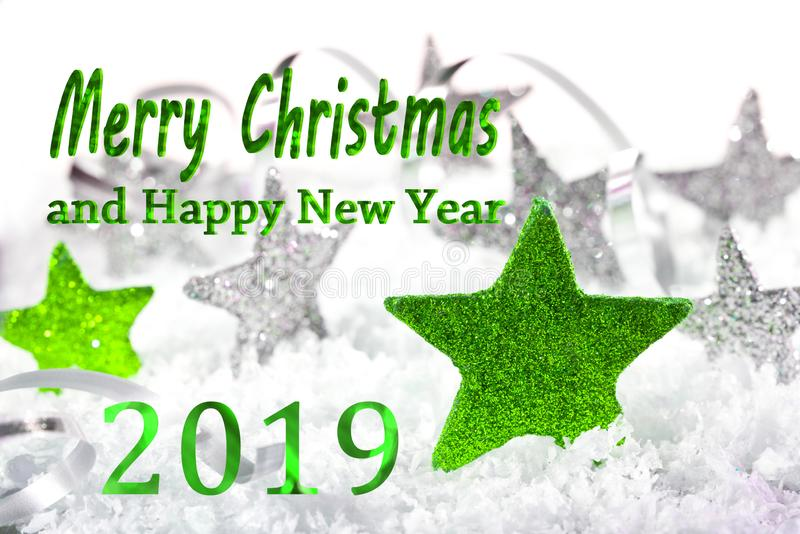 Merry Christmas and happy new year 201. Christmas background with Merry Christmas and happy new year 2019 stock image