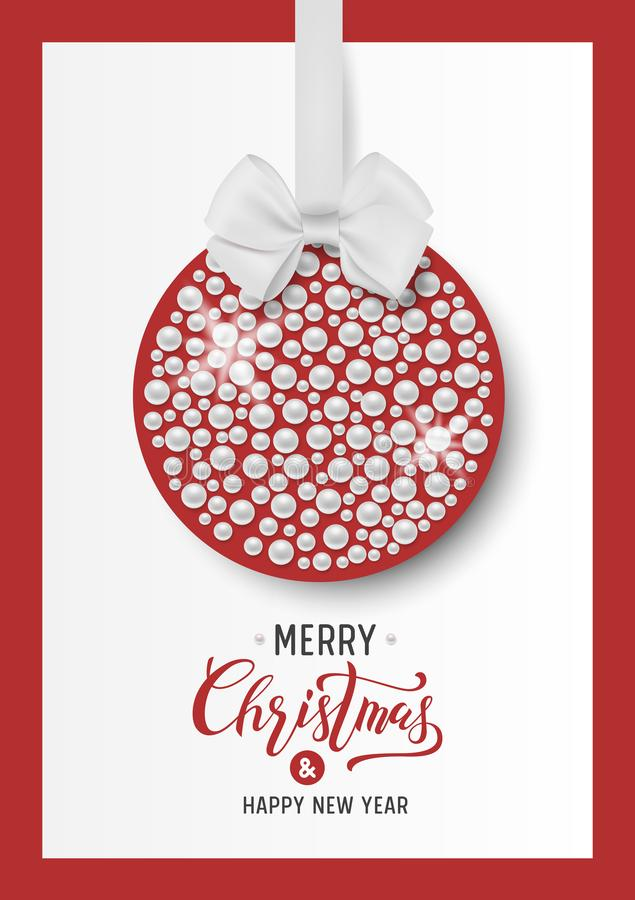 Merry Christmas and Happy New Year. Background with Ball, Pearls, Bow and and Text Calligraphic Lettering. Vector stock images