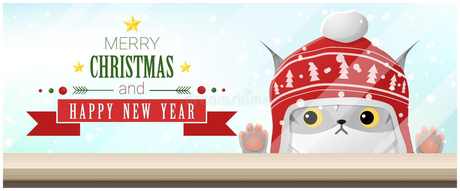 Merry Christmas and Happy New Year background with cat looking at empty table top stock illustration