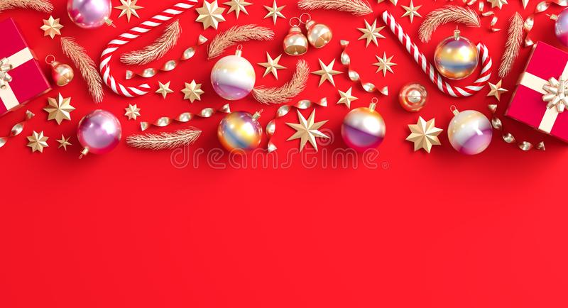 Merry Christmas and happy new year background. Christmas ornaments and gift boxes on red background. 3D illustration.  royalty free illustration