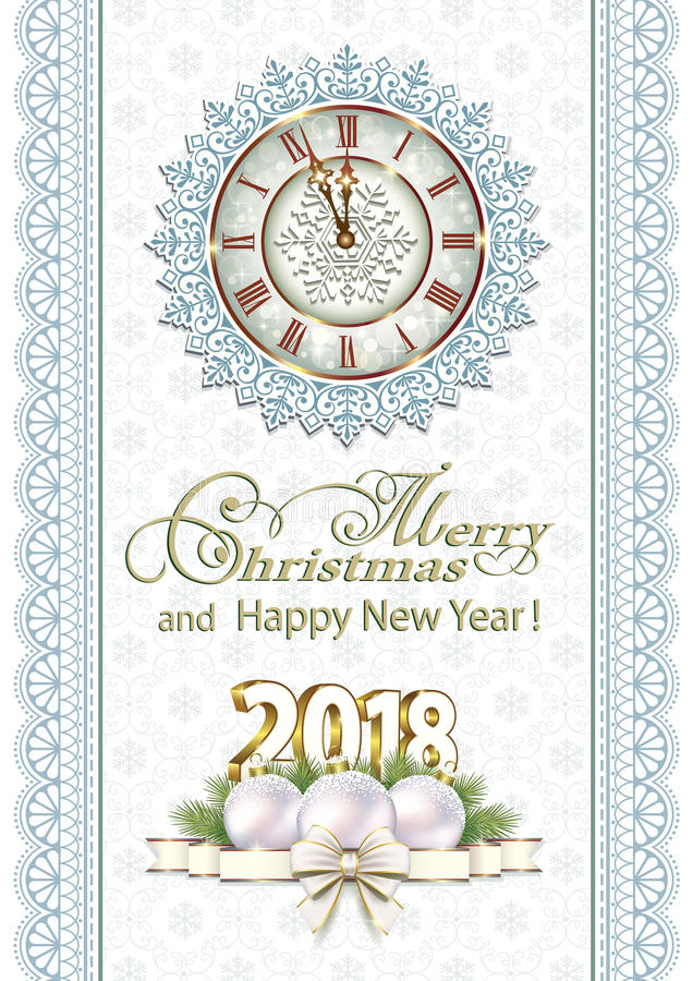 Merry Christmas And Happy New Year 2018 Stock Vector - Image: 96210843