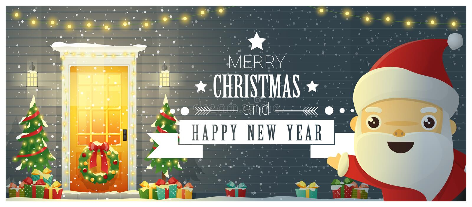 Merry Christmas and Happy New Year background with decorated Christmas front door and Santa Claus stock illustration