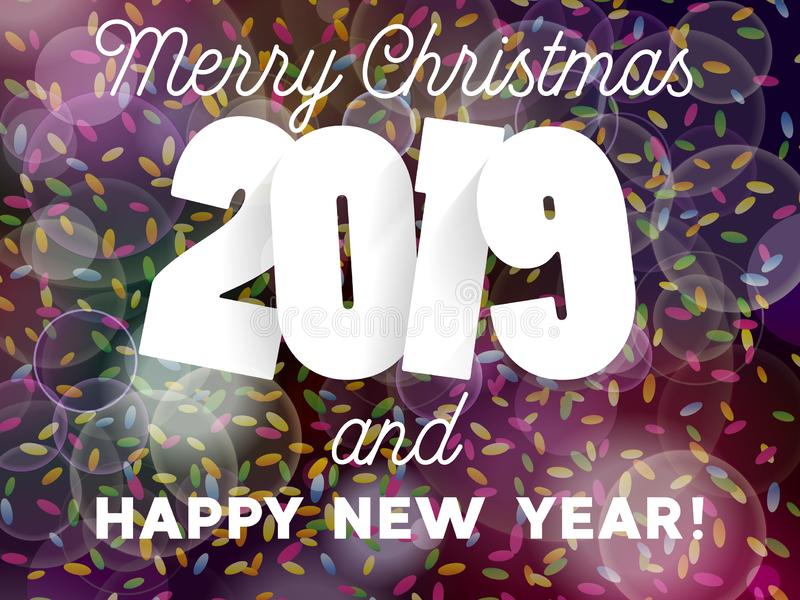 Merry Christmas and Happy New Year 2019 background decoration. Greeting card design template with confetti stock illustration
