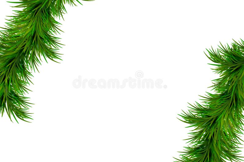 Merry Christmas and Happy New Year background with fir branches isolated on white background. Modern design. Universal background stock photo