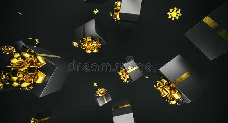 Merry Christmas and happy new year. Background with gift box. 3d illustration. Xmas decoration elements. 3d illustration. Xmas decoration elements. Merry royalty free stock photography