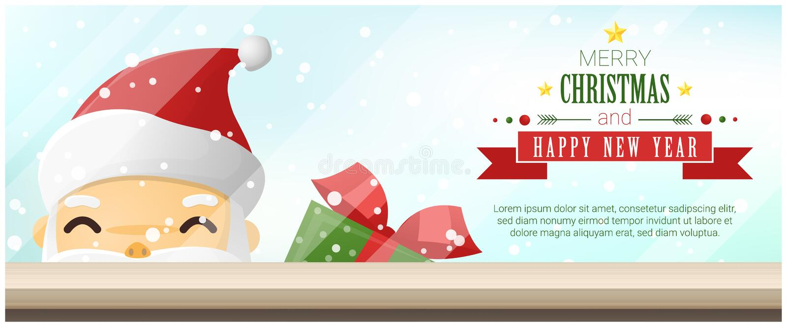 Merry Christmas and Happy New Year background with Santa Claus standing behind window vector illustration
