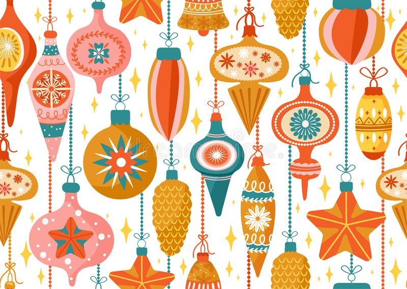 Merry Christmas and Happy New Year background. Seamless pattern with various tree decorations. Texture for textile, postcard, stock illustration