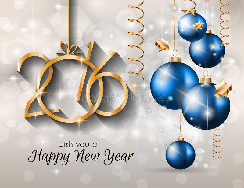 2016 Merry Christmas and Happy New Year Background royalty free illustration