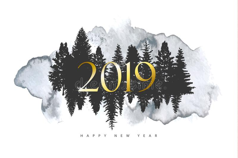 2019 Merry Christmas and Happy New year background with silhouettes forest trees and watercolor texture.Vector illustration for ho vector illustration