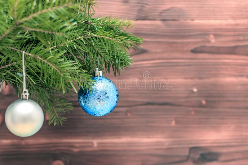 Merry christmas and happy new year background. Top view. Tree, branch, fir, santa, snow, garland, decoration, season, winter, gift, red, white, holiday, frame royalty free stock photo
