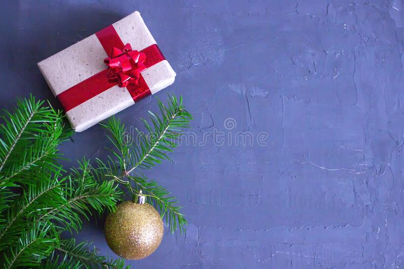 Merry christmas and happy new year background. Top view. Tree, branch, fir, santa, snow, garland, decoration, season, winter, gift, red, white, holiday, frame stock photography