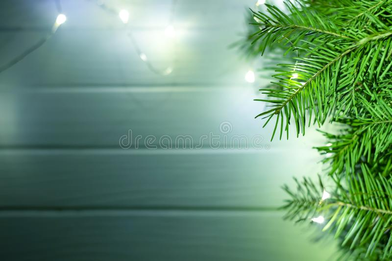 Merry christmas and happy new year background. Top view. Tree, branch, fir, santa, snow, garland, decoration, season, winter, gift, red, white, holiday, frame stock photos