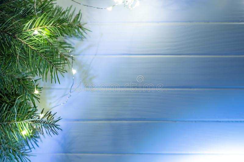 Merry christmas and happy new year background. Top view. Tree, branch, fir, santa, snow, garland, decoration, season, winter, gift, red, white, holiday, frame royalty free stock photos