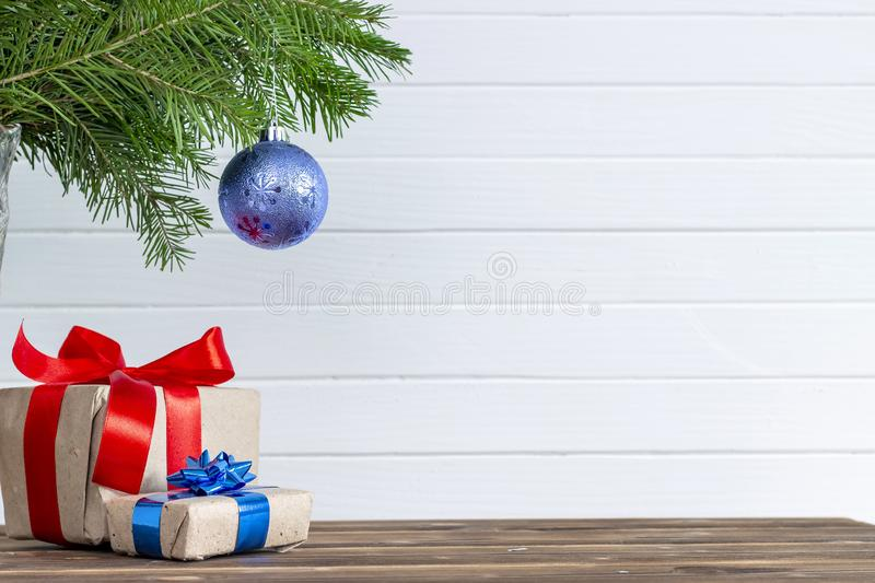 Merry christmas and happy new year background. Top view. Tree, branch, fir, santa, snow, garland, decoration, season, winter, gift, red, white, holiday, frame stock image