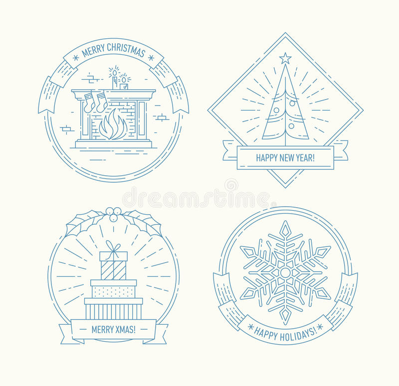 Merry Christmas and Happy New Year badges set. stock illustration