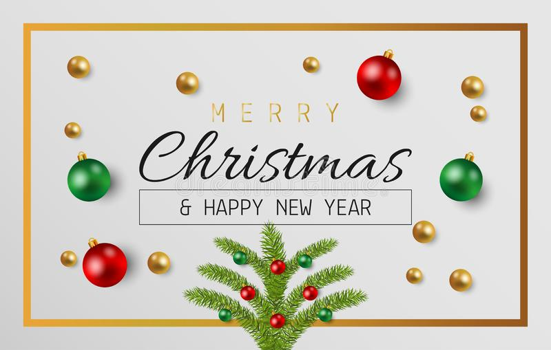 Merry Christmas and happy new year with balls on gray background stock illustration