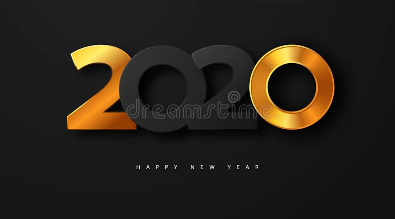 Merry Christmas and Happy new year 2020 banner with golden luxury numbers and text. Gold Festive Numbers Design. Vector royalty free illustration