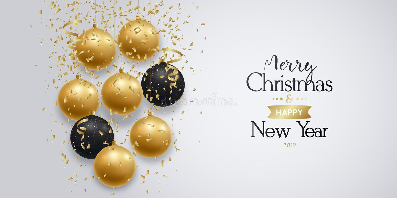 Merry Christmas and Happy New Year banner. stock illustration