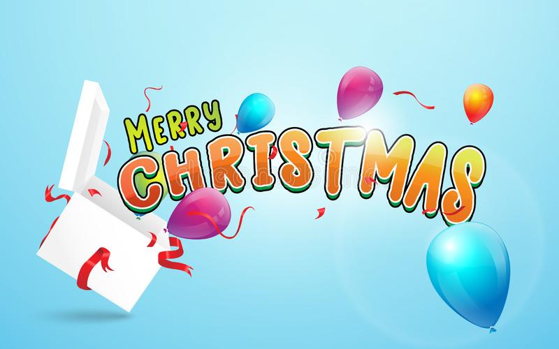 Merry Christmas and Happy New Year banner. Open white gift box and Merry christmas calligraphy with colorful balloons, confetti royalty free illustration