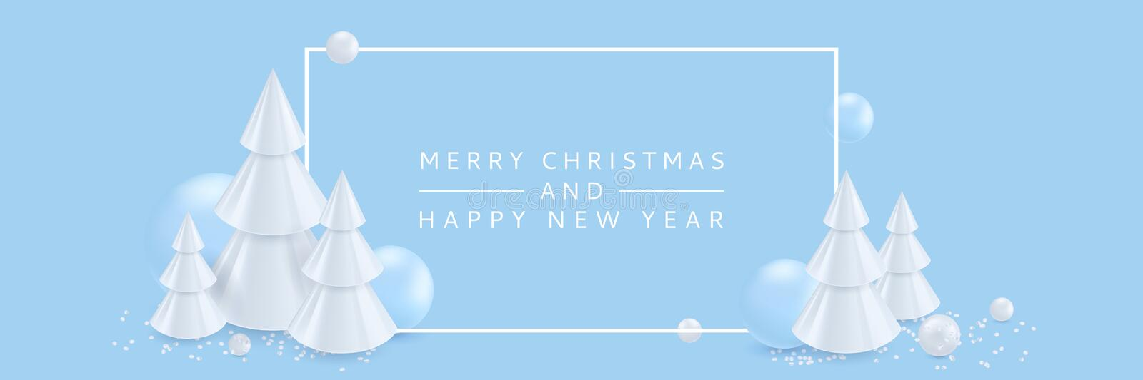 Merry Christmas, Happy New Year banner, poster background. Vector 3d illustration of abstract white Christmas trees stock illustration