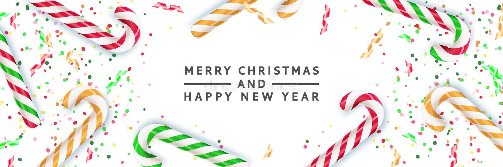 Merry Christmas, Happy New Year banner, poster background. Vector 3d realistic illustration of multicolor striped candy royalty free illustration
