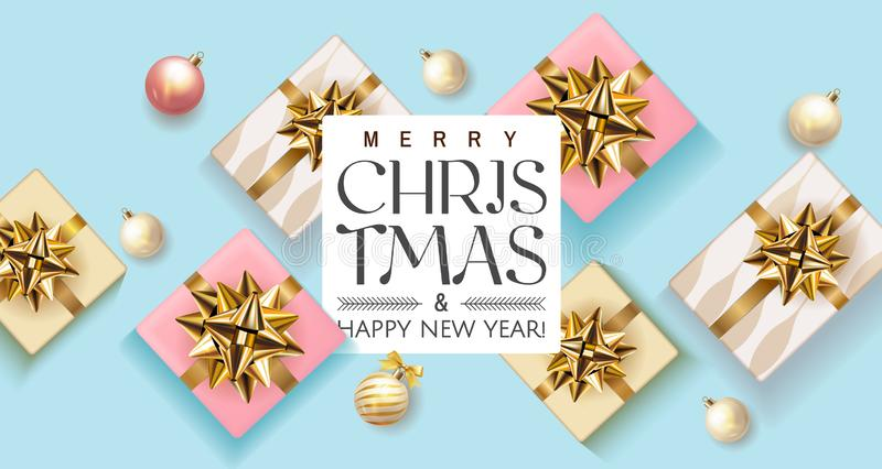 Merry Christmas and Happy New Year banner with realistic top view pink and blue gift boxes, christmas ball, Holiday Xmas vector illustration