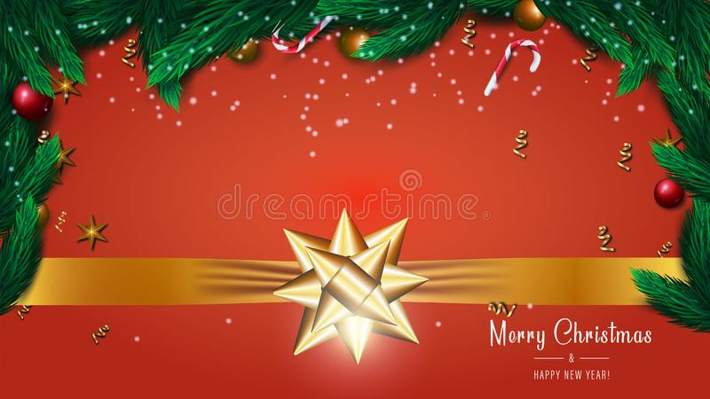 Merry Christmas and Happy New Year banner on red background with tree branches, gold bow, red and gold balls, stars royalty free illustration