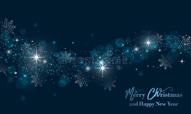 Merry Christmas and Happy New Year banner with stars, glitter and snowflakes. Vector background. vector illustration
