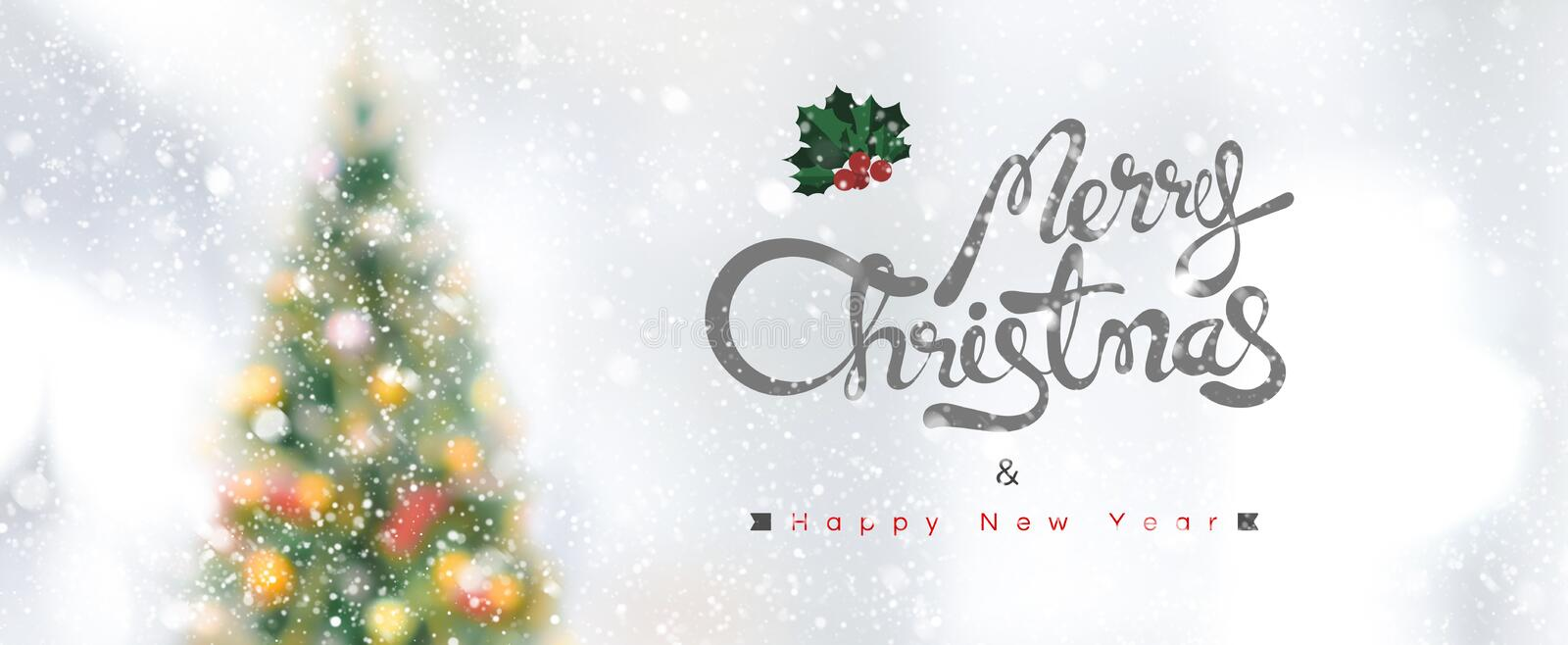 Merry Christmas and Happy New Year banner. Merry Christmas and Happy New Year text on panoramic banner background with snowfall royalty free stock photo