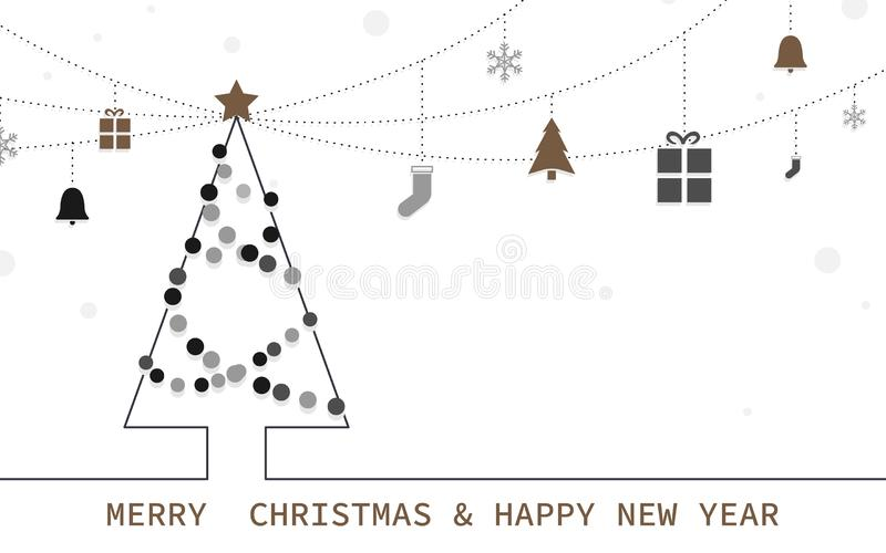 Merry Christmas and Happy New Year banner. Christmas tree and decorative. Modern flat style design royalty free illustration