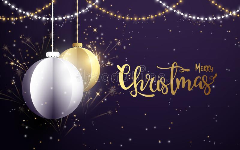 Merry Christmas and Happy New Year banner.White and golden christmas balls with Xmas sparkling lights garland, firework royalty free illustration