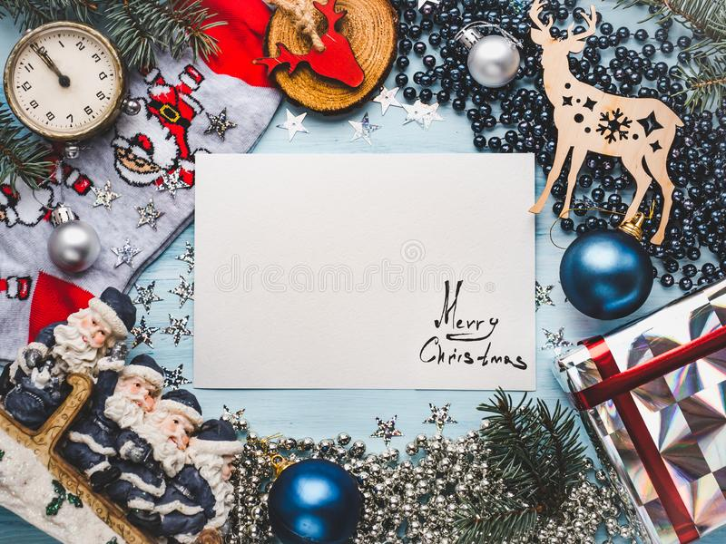 Merry Christmas Happy New Year Beautiful Card Stock Image