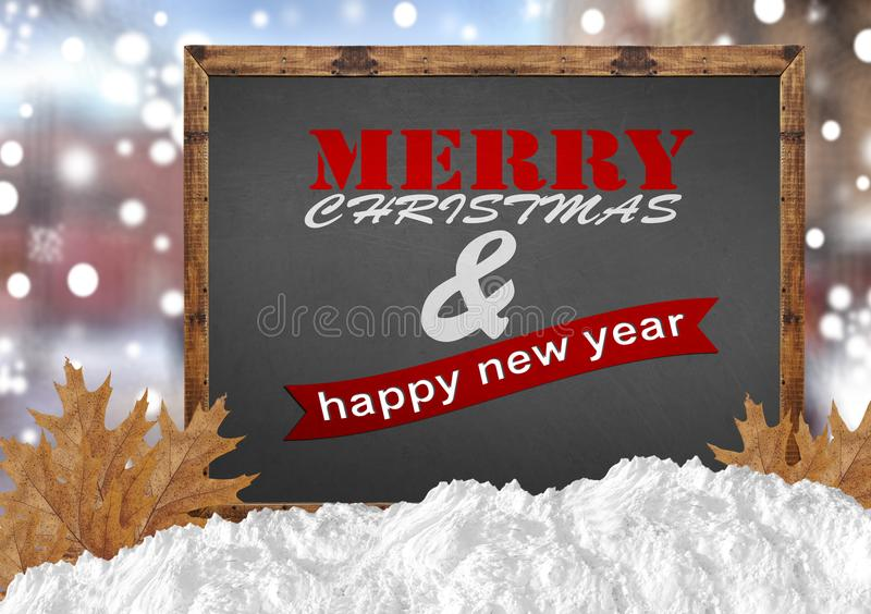 Merry Christmas and Happy New Year on blackboard with blurr background. Close royalty free stock images