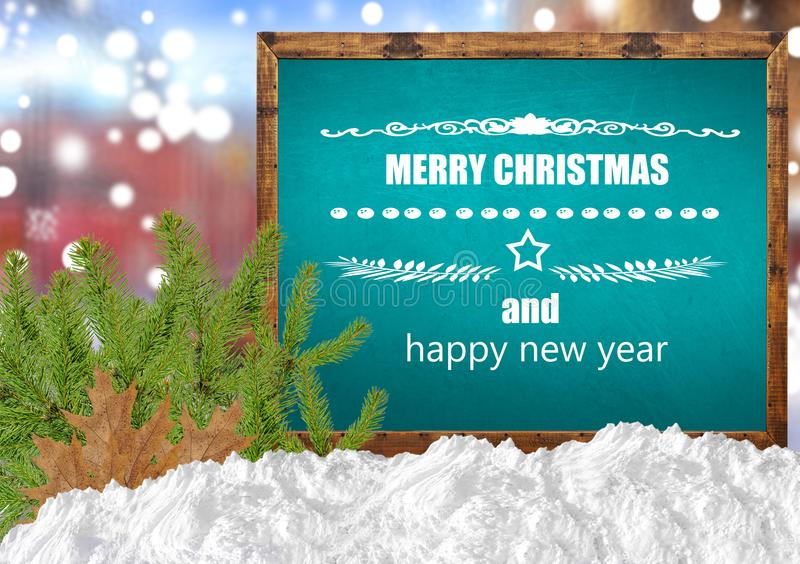Merry Christmas and happy new year on blue blackboard with blurr city pine and snow. Merry Christmas and happy new year on blue blackboard with blurr close royalty free stock photos