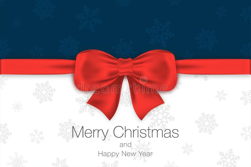 Merry Christmas and Happy New Year. Blue and white background with red bow and snowflakes. Greeting card template stock illustration