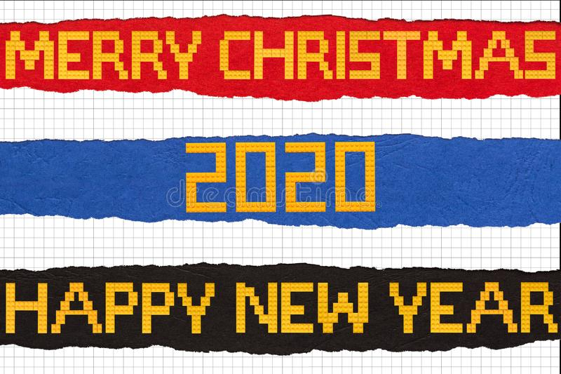 Merry Christmas and Happy New Year Bricks Toys Background on ripped paper. Shoot of the Merry Christmas and Happy New Year Bricks Toys Background on ripped paper stock photo