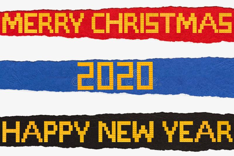 Merry Christmas and Happy New Year Bricks Toys Background on ripped paper. Shoot of the Merry Christmas and Happy New Year Bricks Toys Background on ripped paper royalty free stock photos