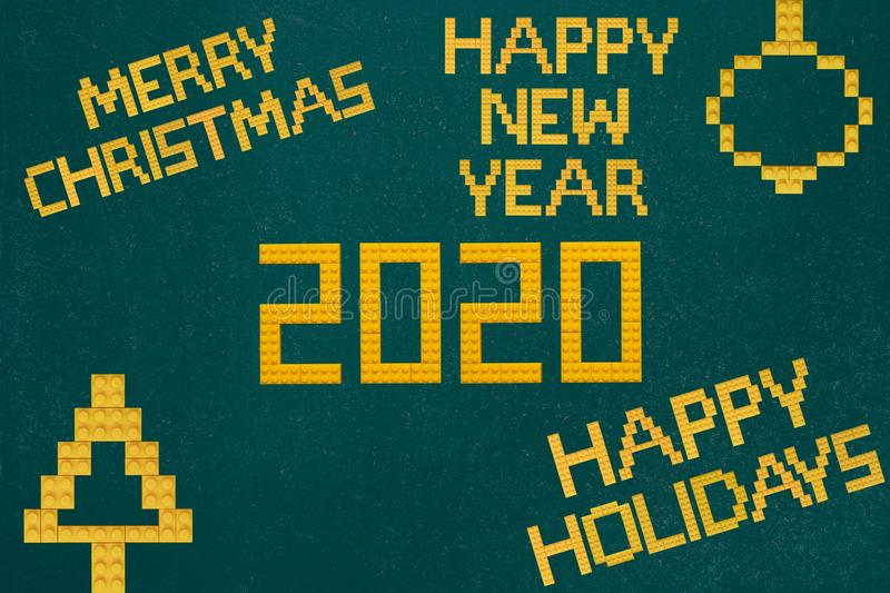Merry Christmas and Happy New Year Bricks Toys Background. Shoot of the Merry Christmas and Happy New Year Bricks Toys Background stock images