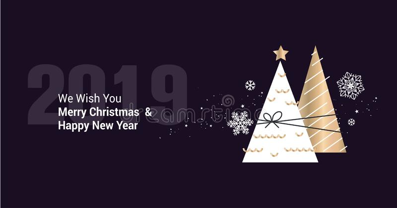 Merry Christmas And Happy New Year 2019 Business Greeting Card Stock Vector  - Illustration of happy, icon: 133378705