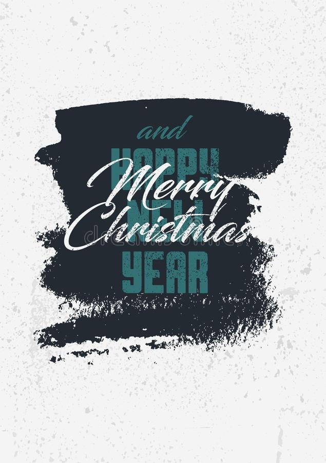 Merry Christmas and Happy New Year. Calligraphic retro Christmas greeting card design. Typographic vintage style grunge poster. Re vector illustration