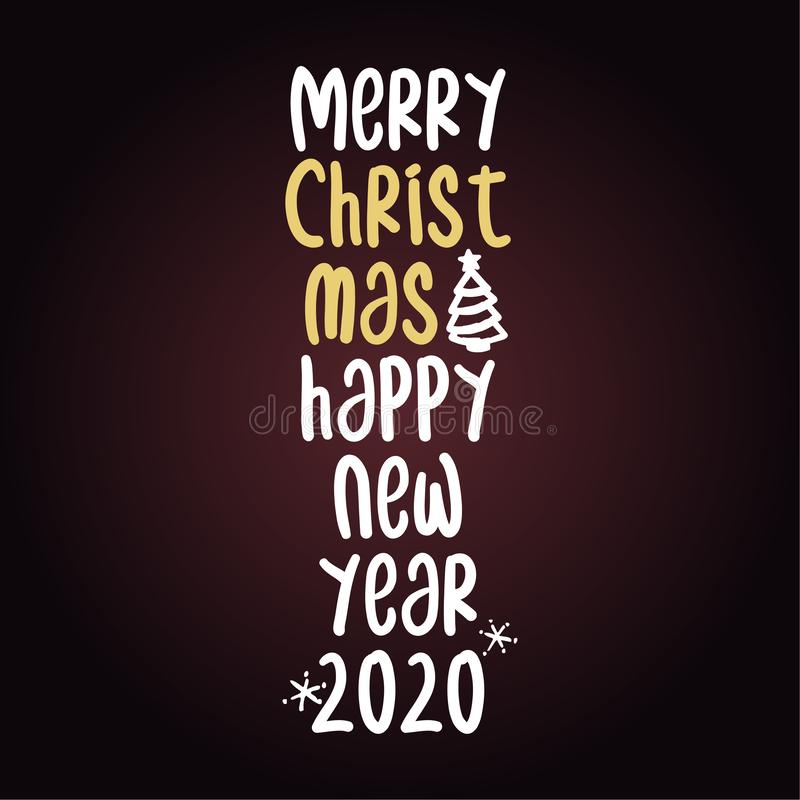 Merry Christmas and happy new year - Calligraphy phrase. Hand drawn lettering for Xmas greetings cards, invitations. Good for t-shirt, mug, scrap booking, gift stock illustration