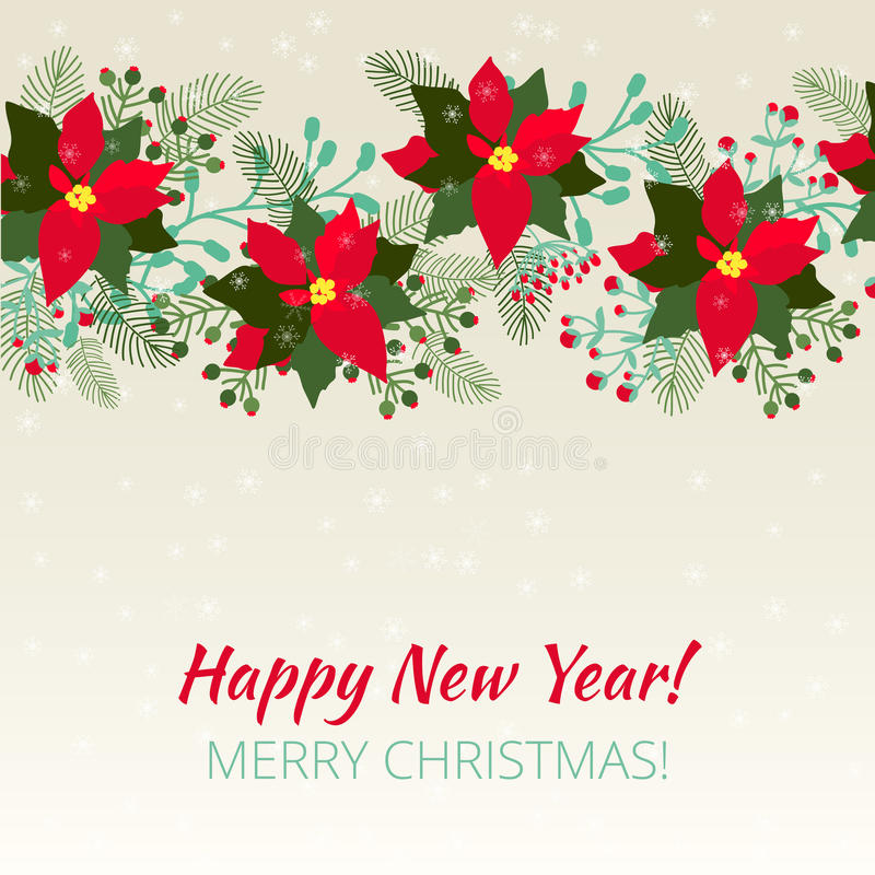Merry Christmas and Happy New Year Card. stock photos