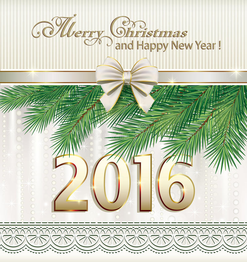 Merry Christmas and Happy New Year 2016 stock illustration