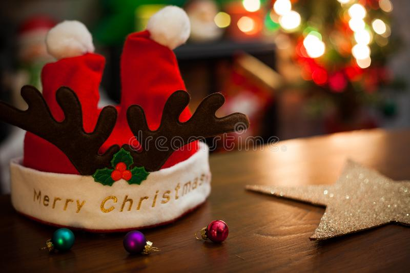 Merry Christmas and happy new year card with decorations stock images