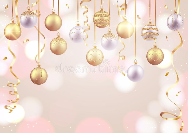 Merry Christmas and Happy New Year card, decorative balls on soft background. Merry Christmas and Happy New Year card, decorative balls on soft bokeh background stock illustration