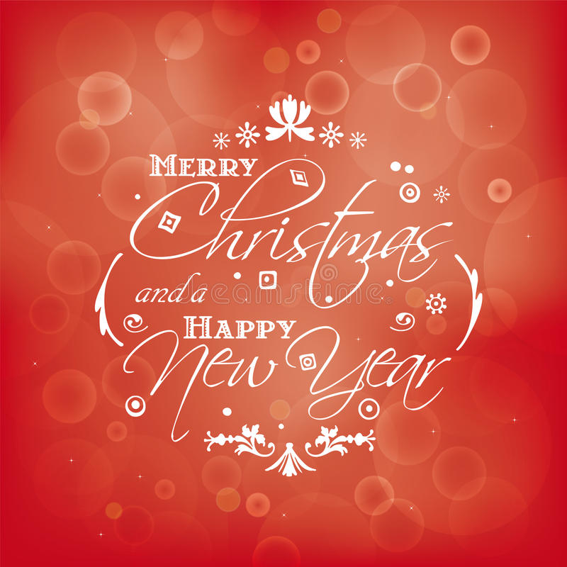 Merry Christmas and Happy New Year card design with bokeh effect vector illustration