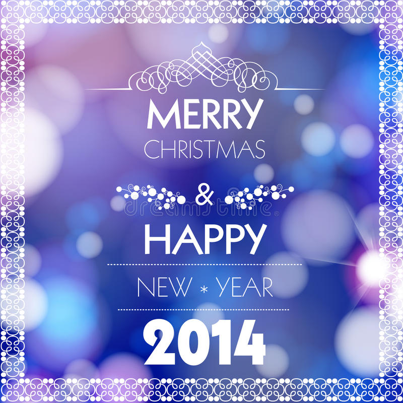Merry Christmas and Happy New Year card design royalty free illustration